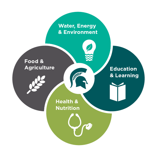 themes infograph: food and agriculture, water energy and environment, education and learning, health and nutrition