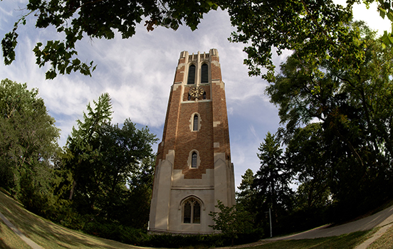A view of Beaumont tower on a sunny day