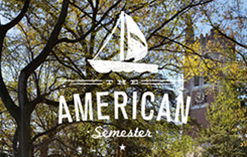 American Semester logo imposed over trees
