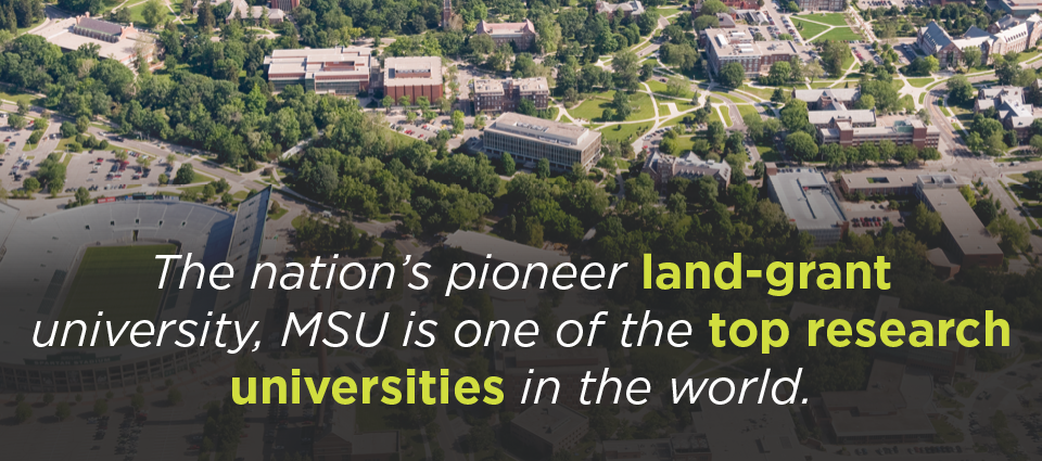 The nation's pioneer land-grand university, MSU is one of the top research universities in the world.