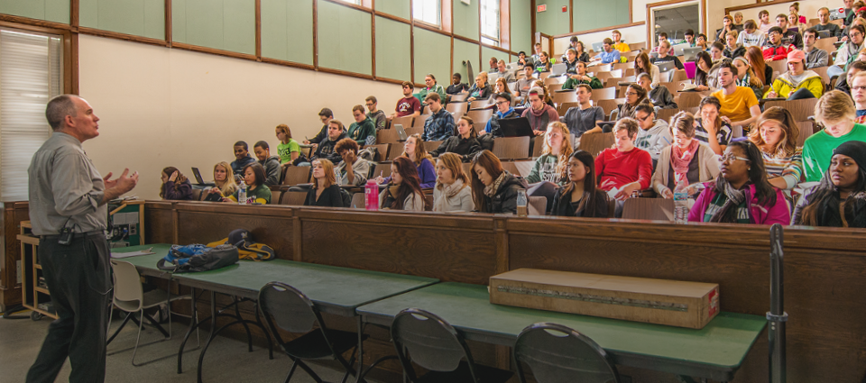 teacher and students in lecture hall